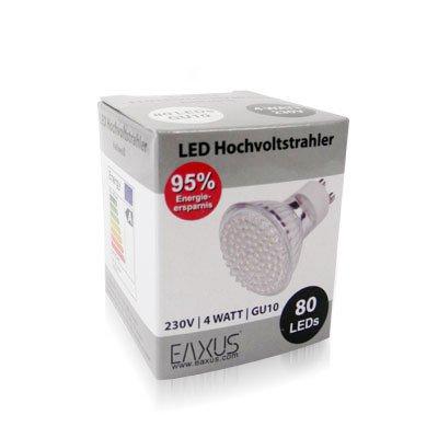 STRAHLER SPOT - IDEAL FÜR BAD ODER KÜCHE - 80-fach LED GU10 230V kaltweiss 4W 240 Lumen von EAXUS auf Lampenhans.de