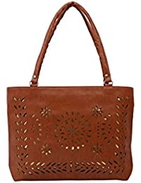 Nuf 9 Collection Women's Brown Cut Work Pu Leather Handbags