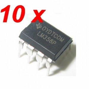 10 Pcs TI LM358P Dual Operational Amplifier AMP LM358 PDIP-8 - Offset-drain