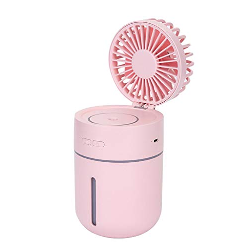 Gszfsm001 Ventilator mit Luftbefeuchter, 400 ml, USB, Aroma ätherisches Öl, Diffusor, 7 Farben, Nachtlicht, tragbare Tischventilatoren Einheitsgröße rose -