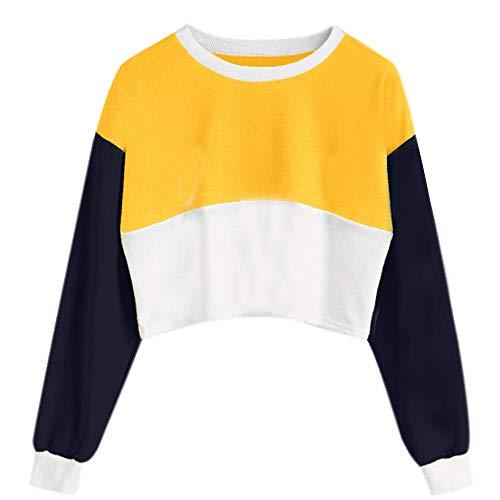 Damen Gedruckt Langarm Patchwork Crop Bluse Sweatshirt Frühling Herbst MYMYG Langarm Crop Tops Frauen Patchwork Pullover Kurz Sweatshirt...