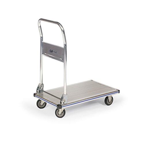 Protaurus Aluminium-Plattformwagen mit klappbarem Schiebebügel, Traglast 150 kg,