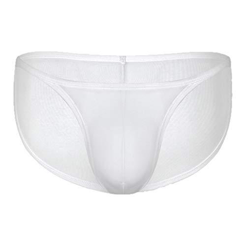 Celucke Slips Herren Tangas EIS Seide Bikini Strings Höschen Männer Erotische Wäsche String Bequeme Reizwäsche Mode Unterwäsche Unterhosen (A - Weiß, M)