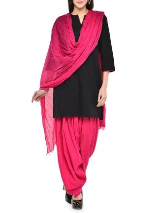 Eyesonme Women\'s Pink & Black Cotton Patiyala Suit(Unstitched)