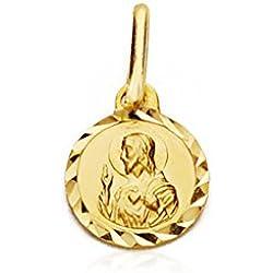 Alda Joyeros Escapulario lenteja bebé Cristo y V. del Carmen Oro Amarillo 18k 7mm
