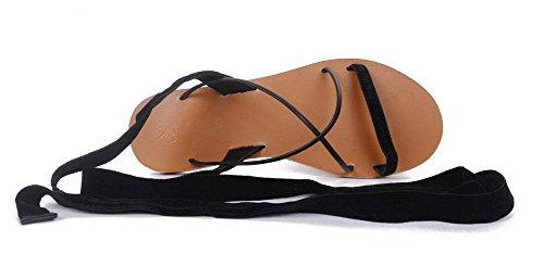 NARUX Damen Open Toe Sandalen 2017 Neue europäische und amerikanische Wind Cross Strap Fashion Zauber Color Bow Low Heel Schuhe Schwarz