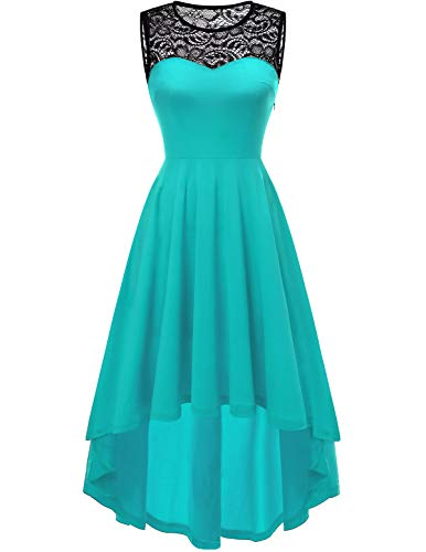 YOYAKER Damen Vintage Retro Spitzen Rundhals Ärmellos Cocktail Party Abendkleider Nile Blue 3XL Party Kleid