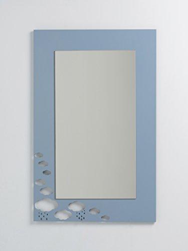 DECOHOGAR.SHOP Rechteckiger Kinder-Wandspiegel - Große Wolken - 60 x 90 cm - Weiß lackiert