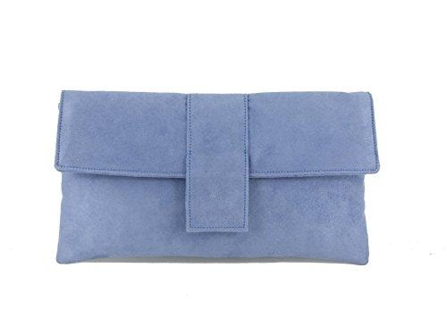 Elegante Faux Wildleder Clutch Bag/Schulter Tasche Anlass Hochzeit Party Prom-Tasche-Navy Lavender Bluebell Blue