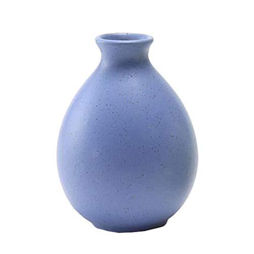 Mini chinesische Keramik Blumenvase Bud Vase Weinflasche, ideales Geschenk für Home Office, Dekor, Tischvasen, Bücherregal Ornamente Flaschen, Bereiftes Blau
