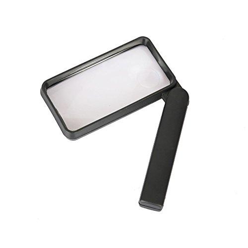 Vergrößerungsglas/Lupe, rechteckig, 3x 90mm, mit 6LED Lichtern, 2 Vergrößerungskreise à...