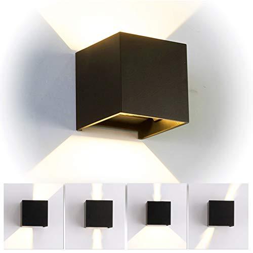 12W LED Apliques de Pared Interior/exterior, Lamparas de salon modernas, Lamparas de comedor, Dormitorio, Jardín De Iluminacion con ángulo ajustable Diseño impermeable IP65 3000K Blanco Cálido (Negro)