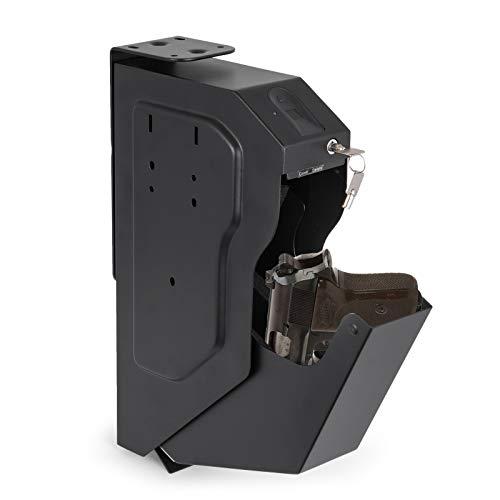 BananaB Stahl Security Gun Box mit Fingerabdruck und Schlüssel tragbare Gun Box Safe 4 X AA-Batterie Waffen Tresor für Hause Sicherheit Stahl-safe