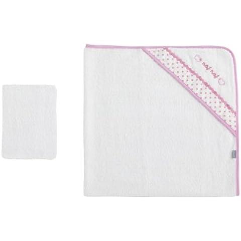 NAF NAF 100 por ciento de algodón toalla del corazón del bebé con capucha (rosa)