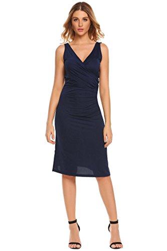 Etuikleid Vintage Kleid Elegant Knielang Festliche Kleider Rüschen Ärmellos Business Kleid (Rüschen Auf Kleider)