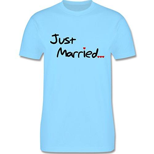 JGA Junggesellenabschied - Just Married - Herren Premium T-Shirt Hellblau