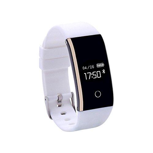 Lemumu Schickes Armband Kalorien Schrittzähler Übung Datensatz APP Control Blutdruckmessung Impuls Tracker Schrittzähleraktivität Tracker, Weiß verbrannt