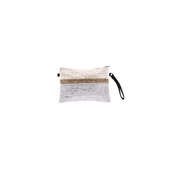 31StnNoQfvL. SS600  - For Time Bolso de Mano con Destellos metálicos, Rafia Mujer, Gris, 30x20x1 cm