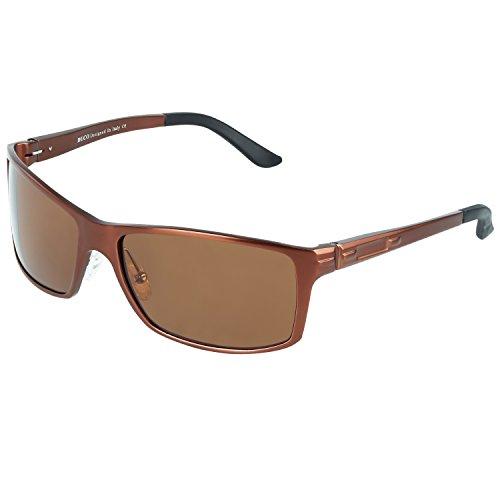DUCO Herren Sonnenbrille Polarisiert Fahrergläser Metall Rahme 9018 (Braun)