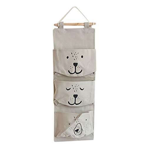 TianranRT Wand montiert 3 Taschen Lagerung Tasche Küche Vorräte Flüssigkeit Systeme Multilayer Taschen (Grau) -