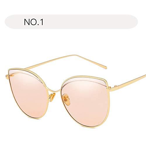 KANGJIABAOBAO Lady Sonnenbrille Frauen Klassische Aviator Sonnenbrillen Metallrahmen Brille verspiegelte Linse UV400 Schutz (Farbe : NO.1, Größe : Free Size)