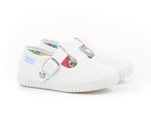 Zapatillas Pepito de Lona para Niños, Angelitos mod.122, Calzado infantil Made in Spain, Garantia de Calidad. (21, Blanco)