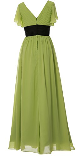 MACloth Women V Neck Short Sleeve Long Bridesmaid Dress Mother Formal Party Gown clover