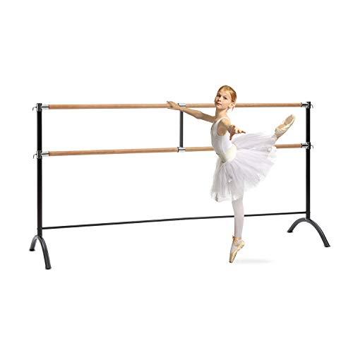 Klarfit Barre Marie - Doppel-Ballettstange, freistehend, 220 x 113 cm, 2 x 38mm Ø, pulverbeschichtete Stahlrohre mit Holzoptik, für vielzählige Stretch- und Bewegungsübungen geeignet, schwarz -