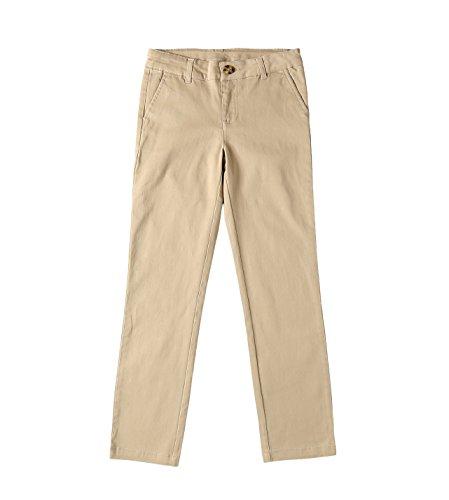 Bienzoe Groß Mädchen Schuluniformen Baumwolle Dehnbar Schlank Flache Vorderseite Einstellbar Taille Hose Khaki Größe 7 (Bügeleisen Hosen Kleid)