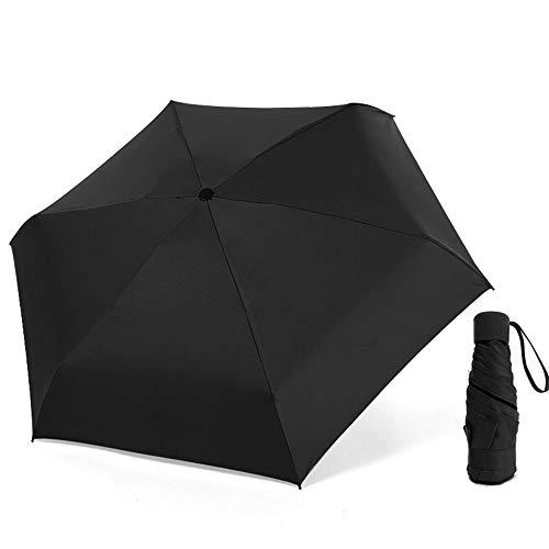 comechen Reiseregenschirm Winddicht Regenschirmwagen offen/geschlossen stabil wasserdicht,Fünffachschirm aus schwarzem Kunststoff Schirmfarbe4 94cm -