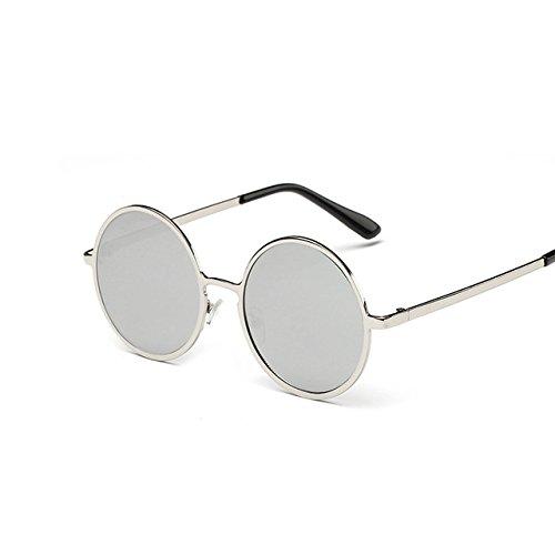 Tocoss (TM) Nouvelle Marque classique pour femmes rondes Lunettes de soleil pour homme Petite vintage retro Lunettes de soleil pour femme Conduite en métal Eyewear femelle, Silver Silver