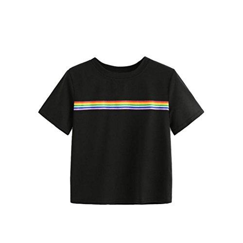 Frauen Bluse Sommer Regenbogen Block Gestreift Crop Top Schule Mädchen Teen T-Shirts