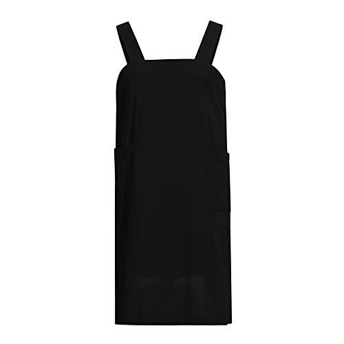 JIUZHOU Damenmode Frauen Baumwolle Leinen Square Cross Schürze Gartenarbeit Pinafore Kleid Volltonfarbe ()