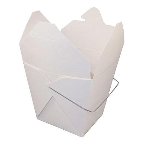 Chinese Quart Take Out Box WHITE 32 oz, PACK of 10 w/ FDL Party Picks by Fold Pak