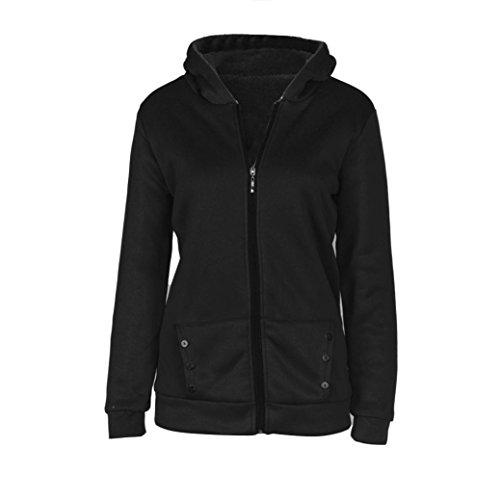 Tefamore Les femmes hiver chaud manteau à capuchon Veste Parka Pardessus longues Outwear Vêtements (M, noir)