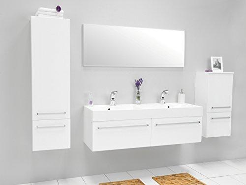 Quentis Doppelwaschplatz Aruva, Breite 140 cm, Waschplatzset 3-teilig, Waschbeckenunterbau mit zwei Schubladen, Front und Korpus weiß glänzend - 8