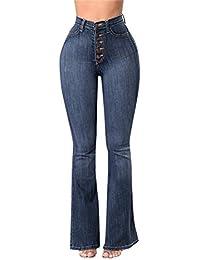 58a7f2971d3ab Femme Jeans Élastique Femmes Mid Jeans Casual Automne Plus Pantalon Flare  Flare Lâche Denim Bouton de Poche Casual Botte Coupe…