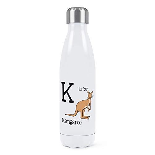 Isolierte Känguru (Buchstabe K Ist für Känguru Doppelwand Wasserflasche Isoliert Edelstahl Sport Getränke 500ml Weiß)