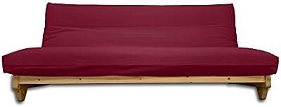 Sofá cama Fresh, Natural, Funda granate, 200 x 140 cm.