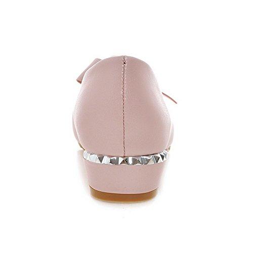 VogueZone009 Damen Ziehen Auf Rund Zehe Niedriger Absatz Pu Leder Eingelegt Pumps Schuhe Pink