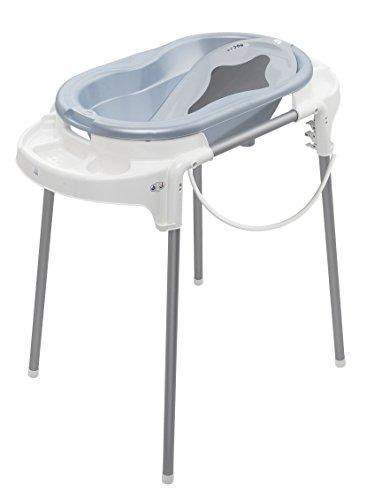 Rotho Babydesign Badestation TOP / 100 cm Breite / Babywanne babybleu perl mit Aufbewahrungsfächer & Badewannenständer, höhenverstellbar / inkl. Wanneneinlage blau und Ablaufschlauch