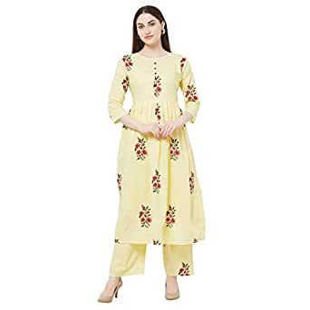 Anni Designer Women's Cream Color Cotton Kurti With Palazzo Pant Set (RASAM-CREAM_S)