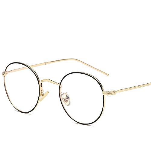 Herren Sonnenbrillen Runde Sonnenbrille Runde Sonnenbrille Runde Mode Runde Brille UV Cut Leichter Kreuz & Brillenetui LTJHJD (Color : Black+Gold, Size : Kostenlos)