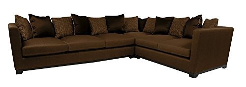 Afydecor Contemporary Low Back Five Seater Sectional Sofa - Brown