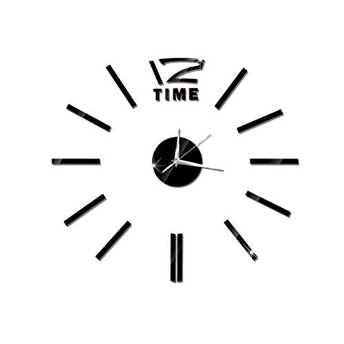 Orologio da parete moderno adesivo vorcool orologio da muro grande nero 50cm