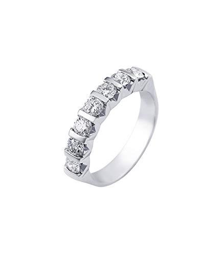 d1aef3523669aa Gioielli di Valenza Anello Veretta a 7 Pietre in Oro Bianco 18k con  Diamanti ct.