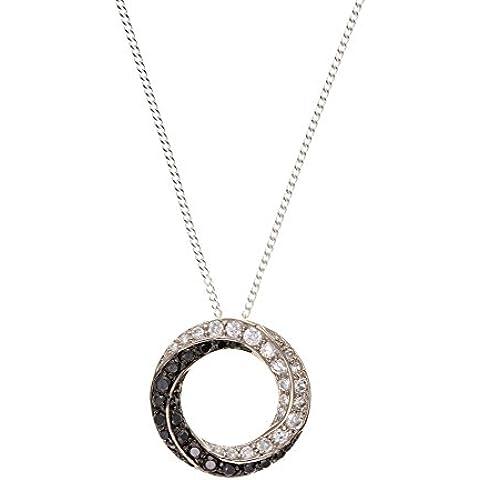 In argento Sterling 925, con zirconia cubica nero & & BT4557 bianco a forma di cerchio montato su catena