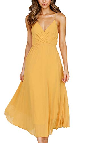 Spec4Y Damen Kleider V-Ausschnitt Träger Sommerkleider Einfarbig Partykleid Casual Midi Strandkleid Gelb M - Kleider Damen Gelb
