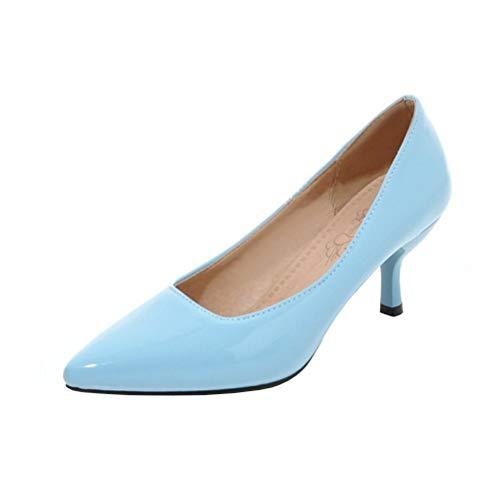 COOLULU Damen Kitten Heels Spitze Stiletto Pumps Lack Pfennigabsatz 3 cm Absatz Hochzeit Schuhe (Blau,36)