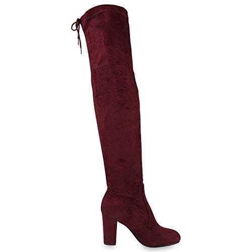 Damen Stiefel Overknees 70s Look Boots Veloursleder-Optik Schuhe Blockabsatz High Heels Profilsohle Langschaftstiefel Jennika Dunkelrot